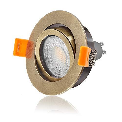 Ledox® Led Einbaustrahler Set dimmbar & schwenkbar inkl. Einbaurahmen Forma Bronze Messing 230V 7W GU10 3000k warmweiß Decken-einbau-strahler-lampe-spot-leuchte-beleuchtung (10er Set) (Einbauleuchten Bronze)