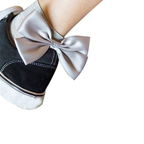 TWIFER Mädchen Rüsche Fischnetz Knöchel hohe Socken Maschen Spitze Netz Kurze Socken (Silber, Freie Größe) (Blumen-knie-socken)