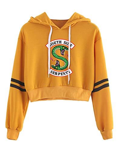 Riverdale Pullover Damen Bauchfrei, Teenager Mädchen Southside Serpents Streifen Baseball Hoodie Gestreift Pulli Kapuzen Sweatshirt Kapuzenpullover Kurz Crop Tops Oberteile Shirt (Gelb 4, XL)
