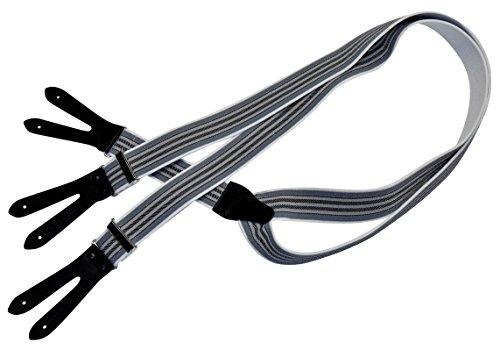 Karl Teichmann Pattenhosenträger mit 3 Leder-Patten zum Knöpfen, Grau/dünne Streifen -