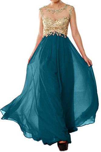 MACloth Women Cap Sleeve Gold Lace Chiffon Long Prom Dress Evening Formal Gown Teal