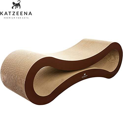 KATZEENA - Premium Kratzlounge für Katzen | Kratzbaum/Kratzbrett / Kratzmöbel mit Katzenminze | Couch-Retter | Wellpappe | 89 x 29,4 x 29,2 cm (XL)