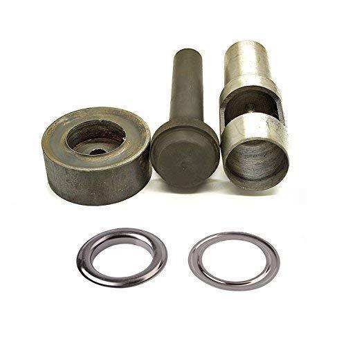Trimming Shop 3er Set: Stanzen Set, Hohl Loch Punch und 10 Stück von 40mm Silber Ösen - Tülle Einstellwerkzeug Set für für Bekleidung, Lederhandwerk und Scrapbooking - Rotguss -