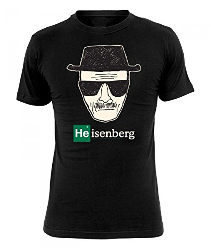 Breaking Bad - Reazioni Collaterali - T shirt Heisenberg Wanted - Maglia con stampa - Comic style - Girocollo - XL