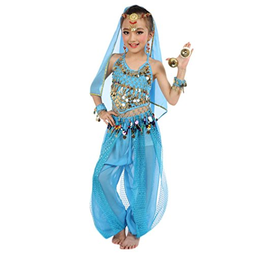 stüm, FNKDOR Tüll Kleid Ägypten Bauchtänzerin Pailletten Karneval (Höhe: 105-119CM, Hellblau) ()