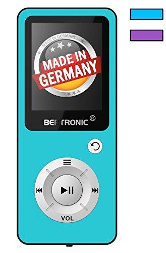 BERTRONIC Made in Germany BC04 Royal MP3-Player, 16 GB ★ Bis 100 Stunden Wiedergabe ★ Radio | Portabler Player mit Lautsprecher | Audio-Player für Sport mit Micro SD-Karte & Silikonhülle