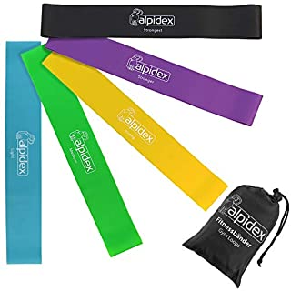 ALPIDEX Resistance bands set of 5 loop bands with carry bag