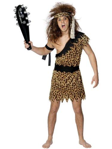 Kostüm Tarzan Zubehör (Caveman Stone Age Herren Tarzan Flintstones Dschungel Kostüm, Gr.)
