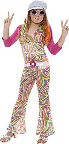 Smiffys Déguisement Enfant, Hippie cool, avec combinaison, ceinture, veste et chapeau, Âge 7-9 ans,