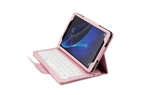 Efanty Bluetooth Tastatur Hülle für Samsung Galaxy SM-T580 / SM-T585, Ultradünne Ständer Schutzhülle mit Abnehmbarer Drahtloser Bluetooth Tastatur - Rosa