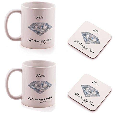 60E anniversaire de mariage Diamant His et Hers Coffret Cadeau Mug et dessous-de-verre – (Lot de 2)