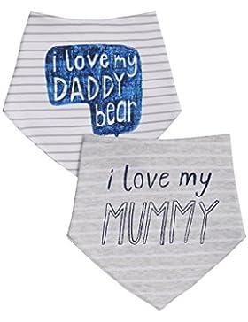 """next Bimbo Confezione Da Due Bavaglini Triangolari Con Scritta """"I Love My Mummy/Daddy"""""""