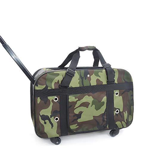 DNTPG Haustier Trolley tragbare Rollen Reisetasche Katze Welpen Hund und Faltbare Griff Kinderwagen Rad Gepäcktasche (Farbe : Grün, Größe : 56 * 22 * 44 cm)