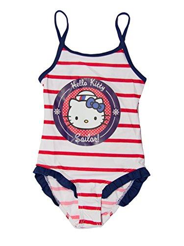 Hello kitty, costume da bagno ufficiale, costume intero, per bambine red stripes 3 anni