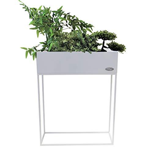 Wohaga® Pflanzkasten \'Verona\' Blumenständer, Metall, 55x20x70cm, Weiß - Blumenkasten Pflanzenkasten Blumenkasten Hochbeet Balkonkasten