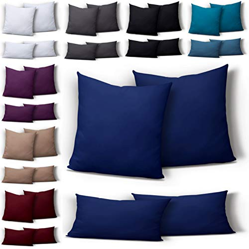 one-home 2er Set Mikrofaser Kissenbezug Kissenhülle Kopfkissen Hülle Uni, Maße:80 x 80 cm, Farbe:Navy/Marine/Blau -