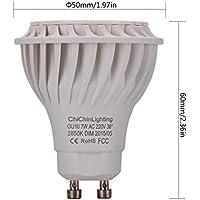 ChiChinLighting - 10 lampadine a LED da 6W GU10, luce calda bianca <br>Supera le lampadine a LED da 3W-4W GU10 e le lampadine CFL GU10 fluorescenti a risparmio energetico, metallo, Bianco, GU10,