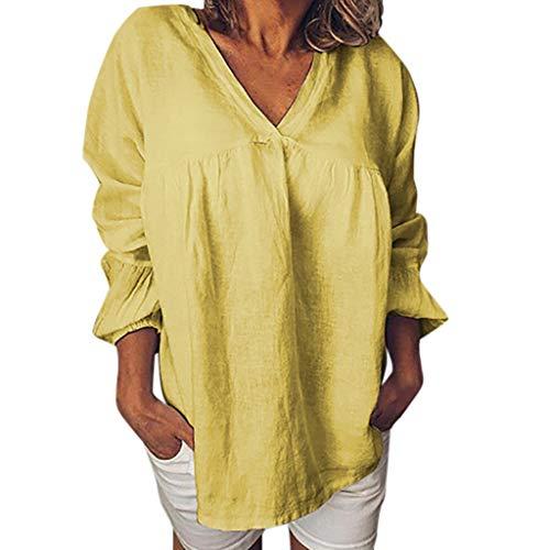 Boy Gute Kostüm College - TUDUZ Damen Flare Langarmshirt Einfarbig V-Ausschnitt Blusen Loose Freizeit Sweatshirt Pullover Tops(Gelb,Large)