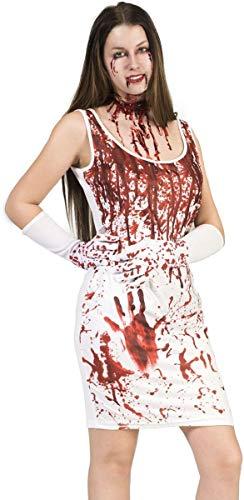 Hausfrau Kostüm Zombie - Kostüm Kleid Lady Blood Größe 36/38 Damen Halloween Horror Krankenschwester Blut Handschuhe Karneval Fasching Pierro's