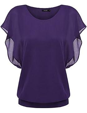 Zeagoo Mujer Blusa Camisetas Suelta O-cuello Casual Verano