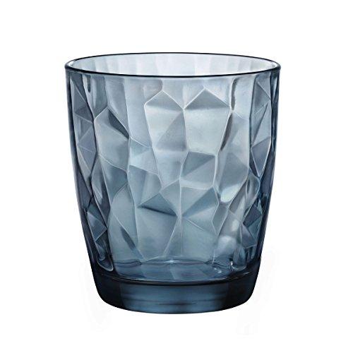 Set 6 bicchieri bicchiere trasparenti blu acqua bibita cocktail 30cl diamantati linea bormioli diamond