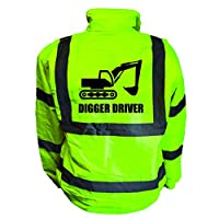 Digger Driver Kids Hi Vis Yellow Bomber Jacket, Reflective High Visibility Safety Childs Coat, By Brook Hi Vis