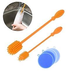Uarter Silikon bürsten Flaschenbürste Babyflasche Reinigungsbürsten BPA-Free Dish Scrubber Antibakterielle Gemüsewaschbürste mit Silikon Scrubber Schwamm, 6 Stück