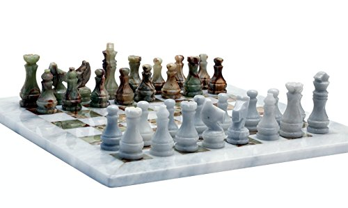 RADICALn Handmade Marble Onyx Chess Game Set - Handmade Weiß und Grün Onyx-Marmor Voll Schach-Spiel Original-Marmor Schach-Set