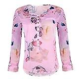 SEWORLD Damen Mode Freizeit Oberteile Bluse Herbst Einzigartig Frauen Strand Damenmode Lässige Lose Floral Bedruckte Knopf T-Shirt Chiffon Unregelmäßige Hem Top Bluse(Violett,EU-36/CN-M)