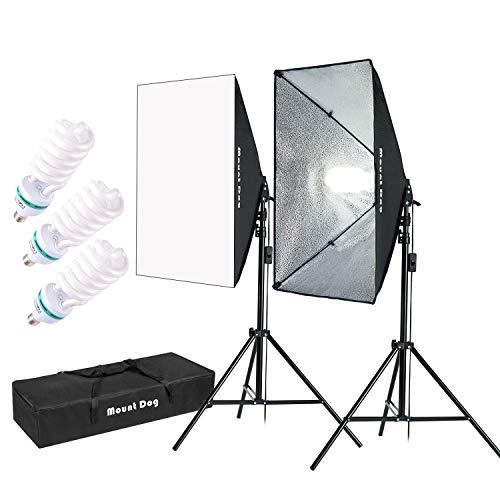 MOUNTDOG 1350W Fotostudio Softbox Set Studioleuchte Dauerlicht Softboxen Kit Fotografie Set Beleuchtung mit Tragetasche für Foto Video