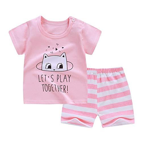 e Baby Jungen Cartoon Streifen Kurzarm T Shirt Shorts Outfits Set ()