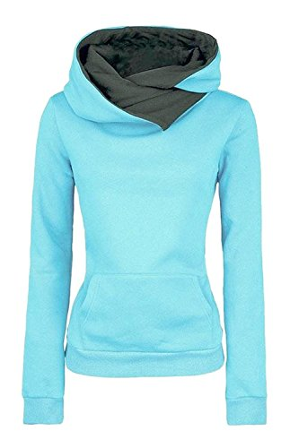 ShallGood Damen Kapuzenjacke Winter Frauen Kapuzenshirt Oberteile Frauen Outwear Hut Winter Frauen Damen Fall Outdoor Langarm Einfarbig Sweatshirt Blau DE 40 (Modische Hüte Für Damen Winter)