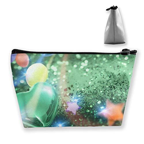 Kosmetiktasche Trapez Aufbewahrungstasche Grünes Herz Sterne Glitzer Tragbare Kosmetiktasche Damen Mobile Reisetasche (Gnome Grüne Hat)