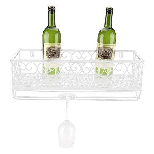 Weinregal zur Wandmontage, für Flaschen und Champagnergläser, mit Ablage weiß