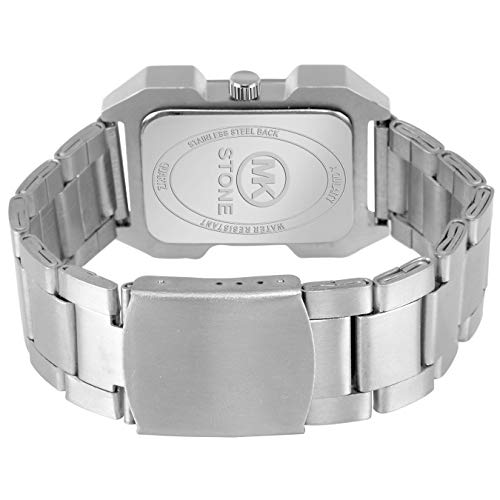 MKStone Square Silver Analogue Watch for Men & Boys - MK-108