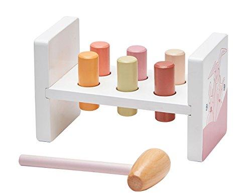 Kids Concept- Holzspielzeug Werkbank Klopfbank Hammer in Pastelltönen aus Gummibaum, 16x10x12cm, Mehrfarbig