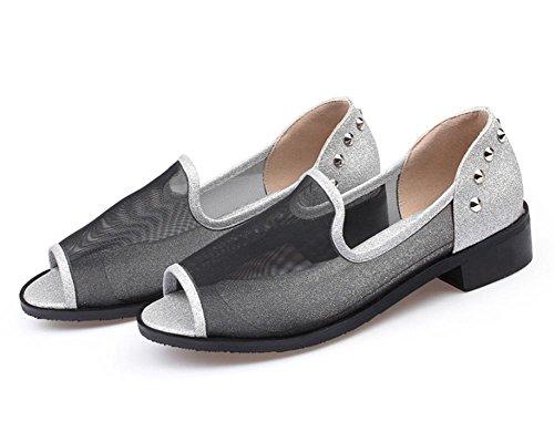 Sommer Sandalen weibliche Sandalen weiblicher Fischkopf grob mit dem Nietschuhe mit Sandalen und Pantoffeln Netz Silver