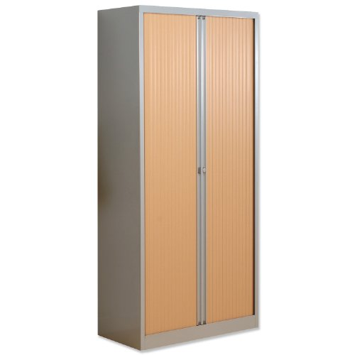 For Sale Bisley A4 EuroTambour Including 4 Shelves W1000xD430xH1980mm Beech Shutters Silver Frame Ref ET410/19/4SB
