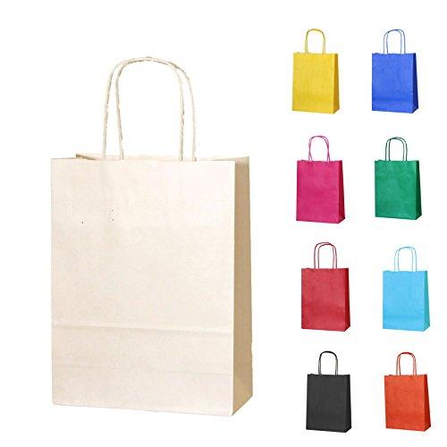 40 Creme Papierpartytüten mit Griffen - Wählen Sie Ihre Größe und Farbe