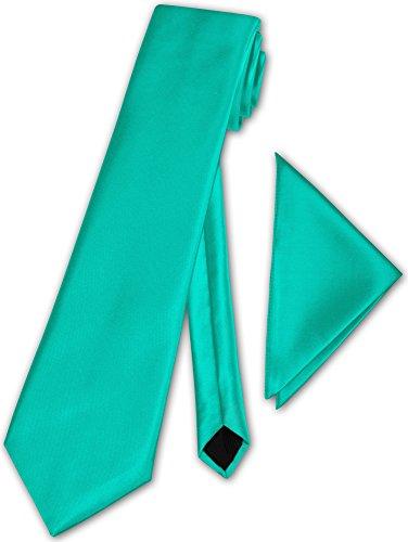 Herren Krawatte klassisch mit Einstecktuch Klassik Anzug Satinkrawatte - 30 Farben (Türkis)
