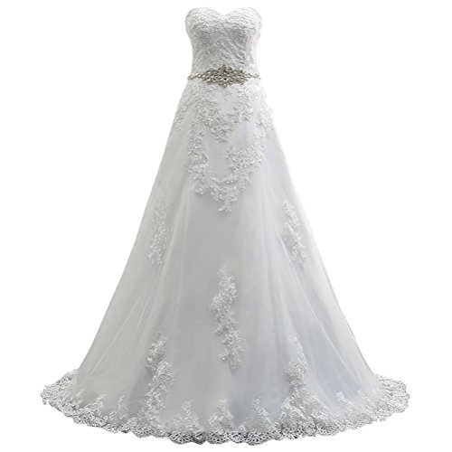 Brautkleider Hochzeitskleider A Linie Prinzessin Spitze Brautkleid mit Perlen Sweep Train Elegantes Brautkleid NaXY Tulle Brautkleid Ivory Size 36 (Prinzessin Sweep)