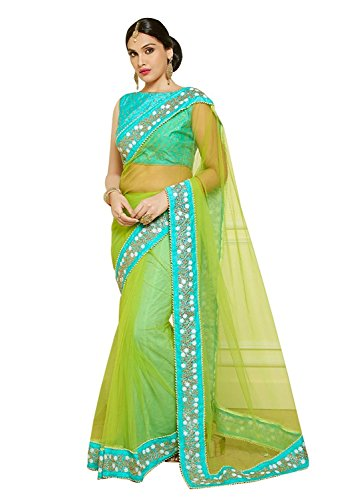 saree (Esomic New Neon Green Nylon Mono Net Designer Saree)