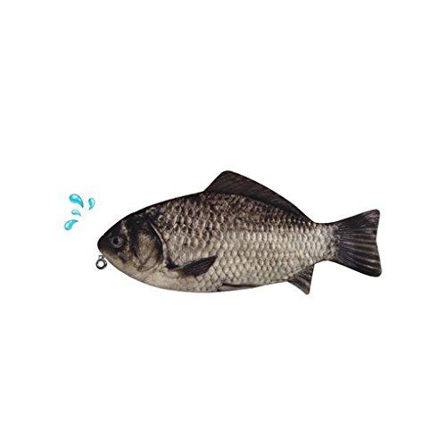QHGstore Silberkarpfen Echt Fisch-Like Zipper Pen & Make-Up-Beutel-Bleistift Fall Lustiger Rare