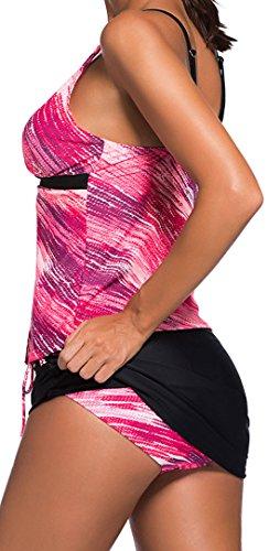 erdbeerloft - Damen Gemusterter Figurumspielender Tankini mit Röckchen, XS-3XL, Viele Farben Pink