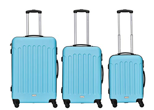 Packenger Kofferset - Travelstar - 3-teilig (M, L & XL), Blau, 4 Rollen, Koffer mit Zahlenschloss, Hartschalenkoffer (ABS) robuster Trolley Reisekoffer