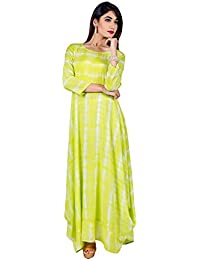 Missprint Women's Tie And Dye Round Neck 3/4 Sleeve A-Line Fabric Cotton Lime Green Color Floor Length Indo Western...