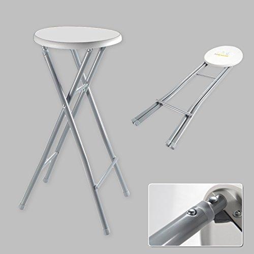 Barhocker XL Hocker Klapphocker Klappstuhl Stuhl Barstuhl Faltbar Metall Weiß Grau (4x)