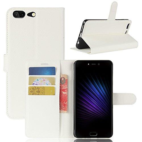 Handyhülle für Leagoo T5 95street Schutzhülle Book Case für Leagoo T5, Hülle Klapphülle Tasche im Retro Wallet Design mit Praktischer Aufstellfunktion - Etui Weiß