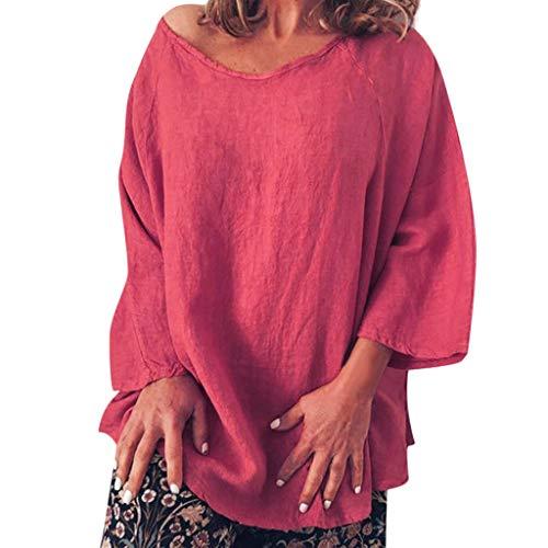 iYmitz 3/4-Arm Damen Streetwear Einfarbig Rundausschnitt Leinen Frauen Freizeit Bluse Sommer Freizeithemd(Z5-Orange,EU-36/CN-S) -