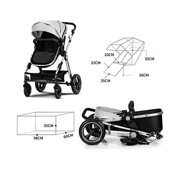 MU Comfortable Pushchairs Baby Stroller Buggy Child Foldable Kids Pushchairs Travel System Foldable with Shock Absorber Four Seasons Universal Pram,Brown   5